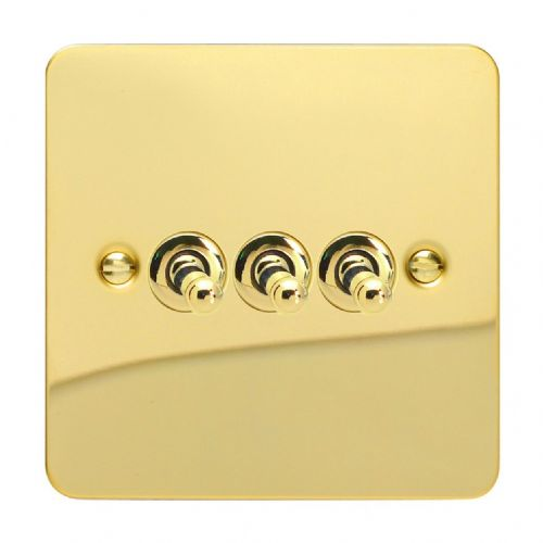 Varilight XFVT3 Ultraflat Polished Brass 3 Gang 10A 1 or 2 Way Toggle Light Switch